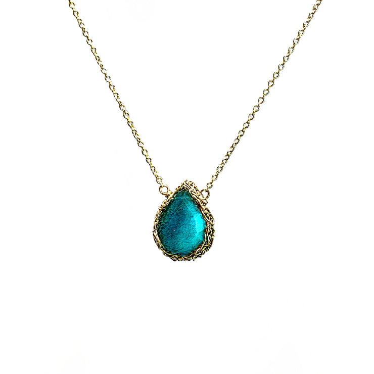 Small Labradorite Teardrop Necklace In Gold
