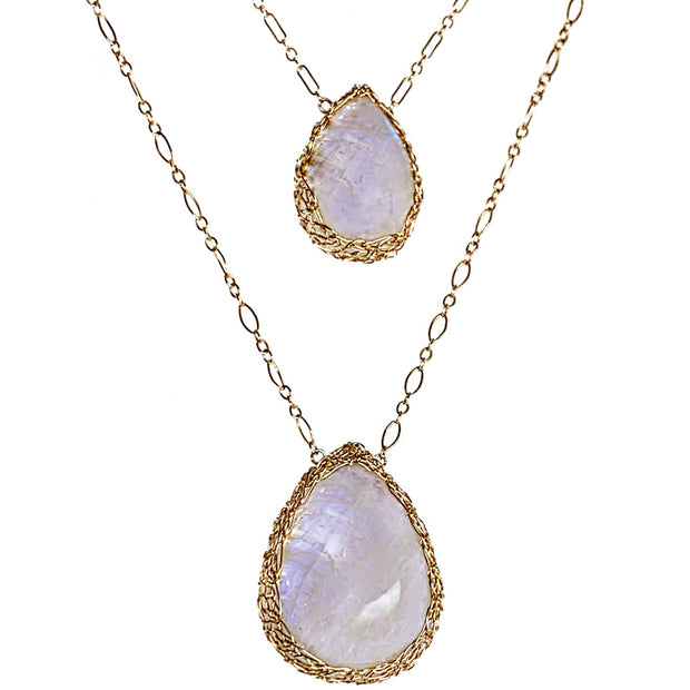 Moonstone Teardrop Necklace In Gold