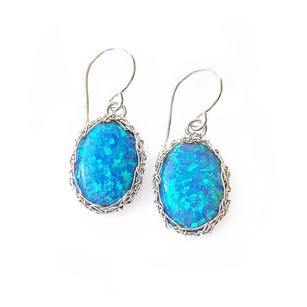 Sea Opal Oval Dangle Earrings in Silver