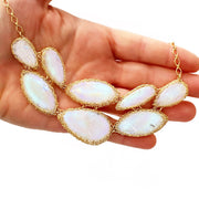 Rainbow Moonstone Queen's Necklace in Gold