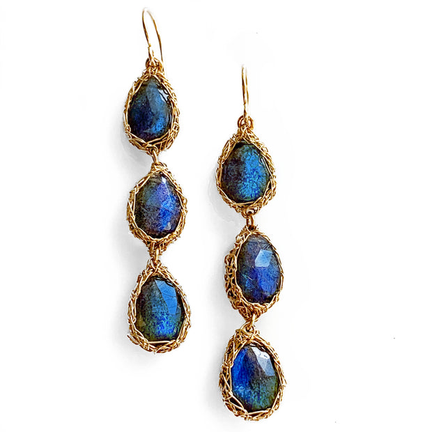 Three Stone Labradorite Teardrop Earrings in Gold