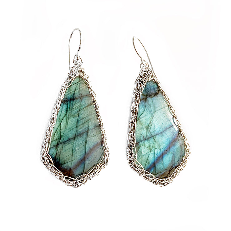 Labradorite Kite Earrings in Silver