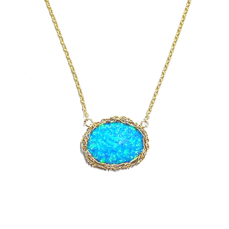 Sea Opal Oval Necklace In Gold