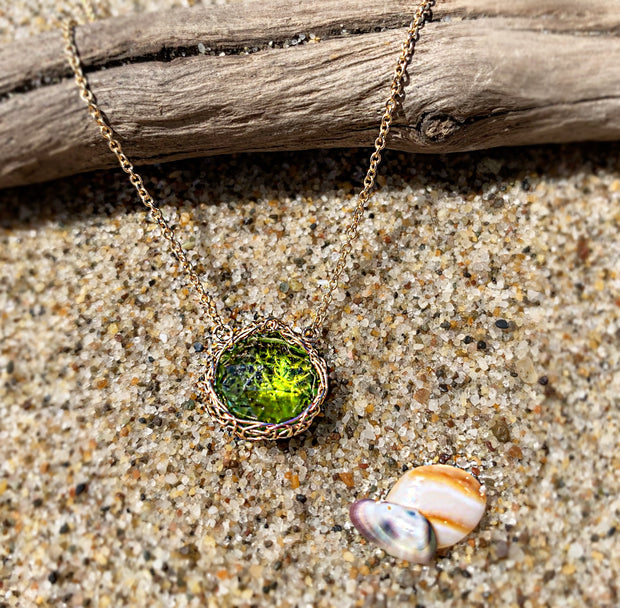 Small Peridot Teardrop Necklace in Gold