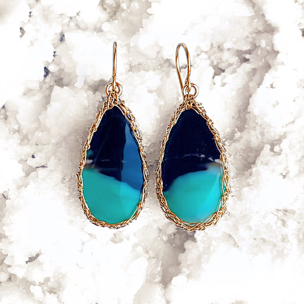 Petrified Opalized Wood Teardrop Earrings Gold