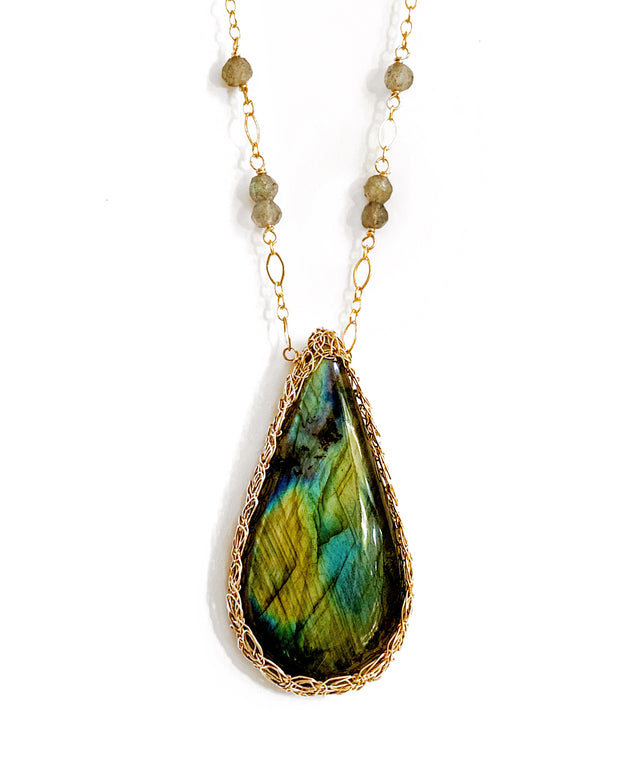 Large Labradorite Long Teardrop Necklace in Gold