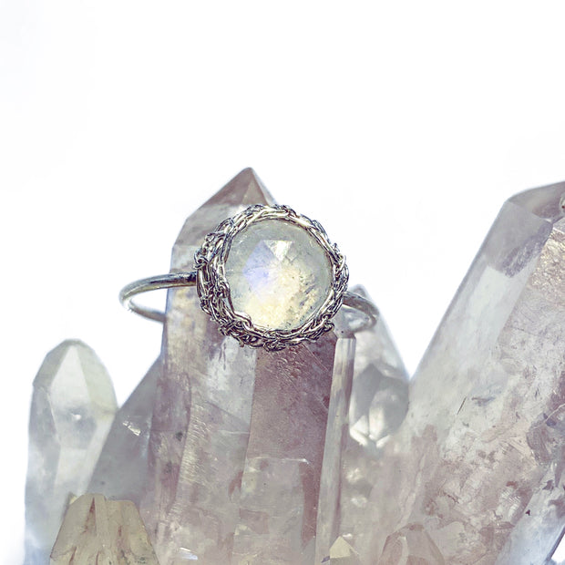 Moonstone Round Luna Ring in Silver