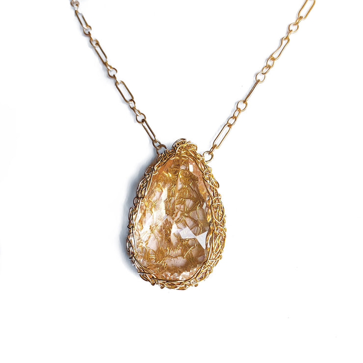 Morganite Teardrop Necklace In Gold