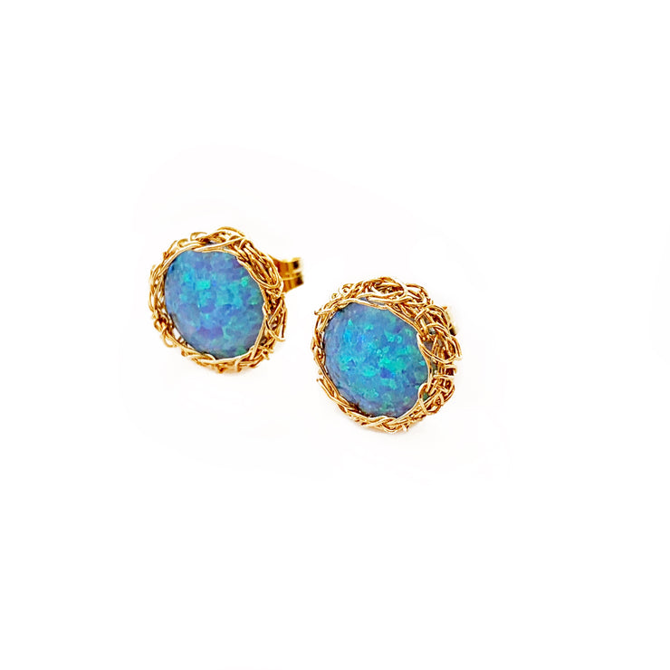 Sea Opal Post Earrings in Gold