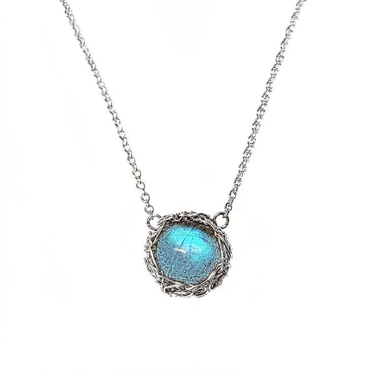 Labradorite Moon Necklace In Silver