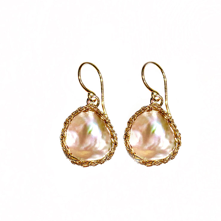Keshi Pearl Earrings In Gold