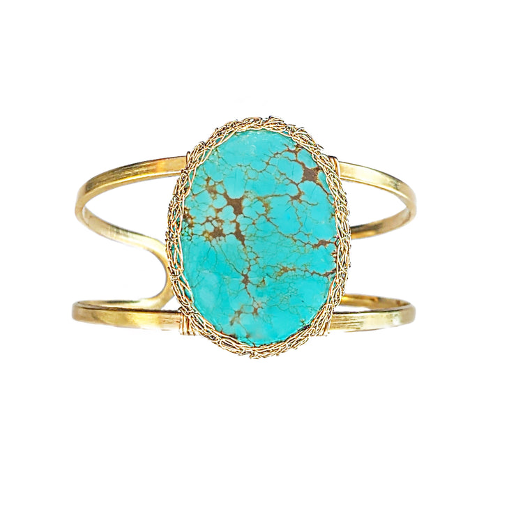 Turquoise Cuff Bracelet In Gold