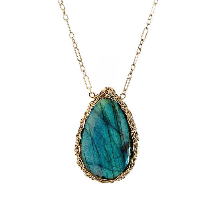 Labradorite Teardrop Necklace in Gold