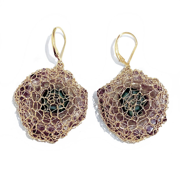 Amethyst Stalactite Earrings in Gold