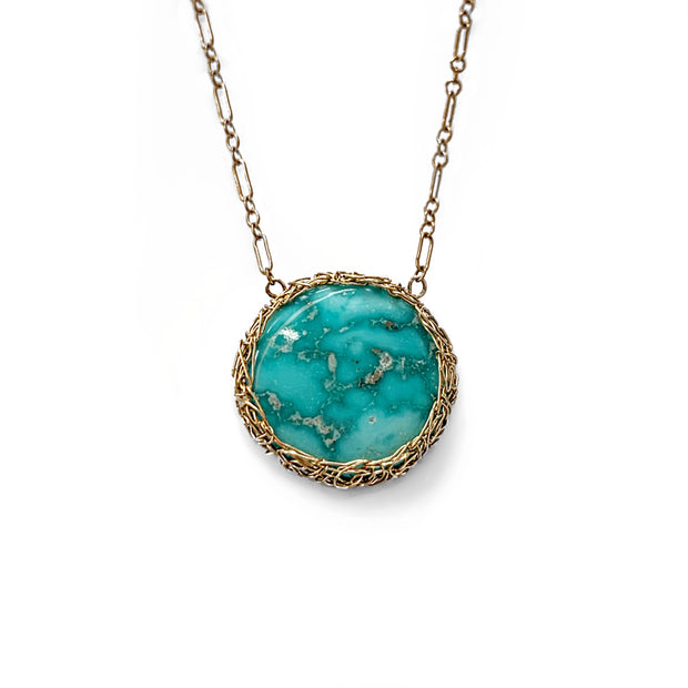 Whitewater Turquoise New Moon Necklace in Gold