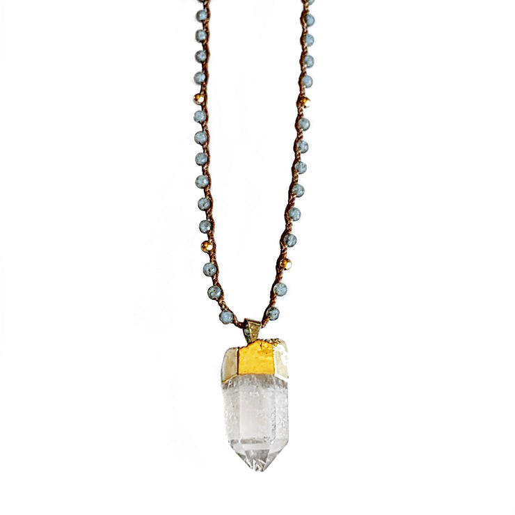 Labradorite Quartz Clarity necklace in Gold