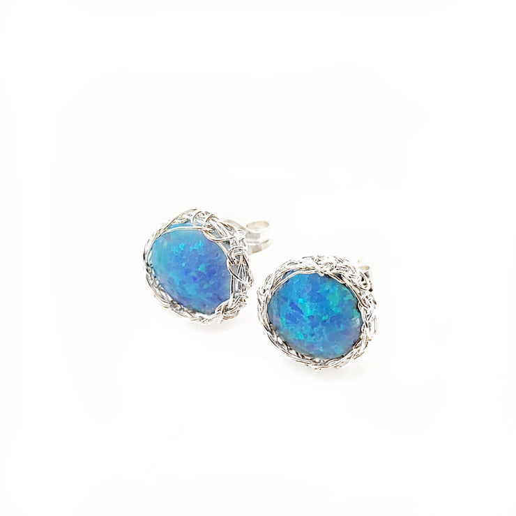Sea Opal Post Earrings in Silver