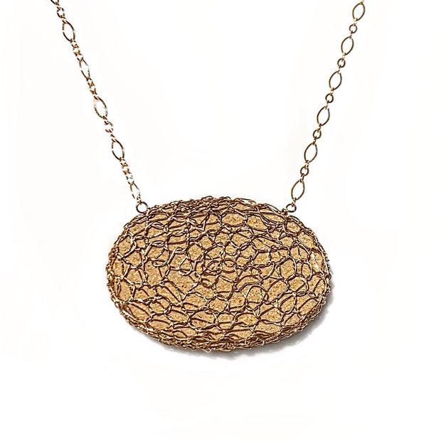 Dendritic Limestone Oval Necklace In Gold