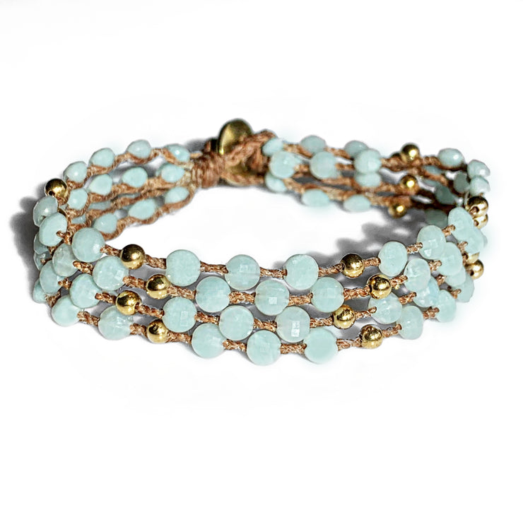 Amazonite 4 Strand Bracelet in Gold