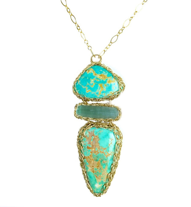 Royston Turquoise And Indicolite Tourmaline Necklace In Gold