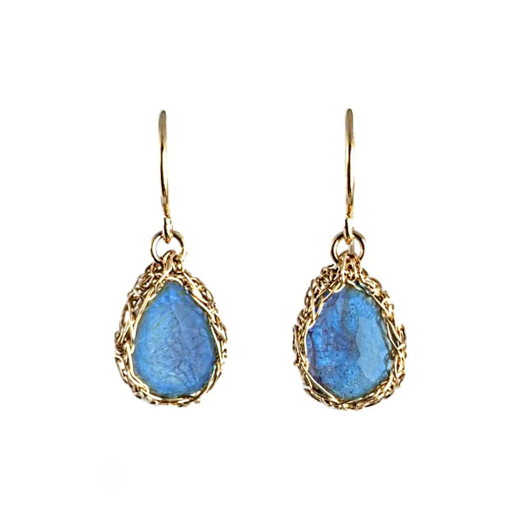 Labradorite Teardrop Dangle Earrings in Gold