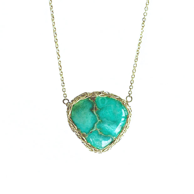 Variscite heart necklace in gold