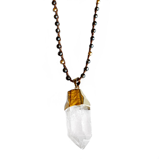 Hematite Quartz Clarity necklace in Gold