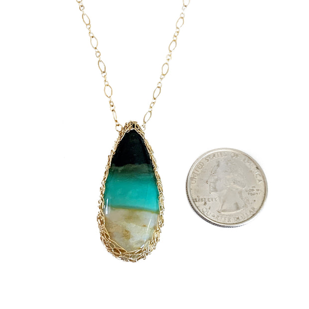 Petrified Opalized Wood Necklace in Gold