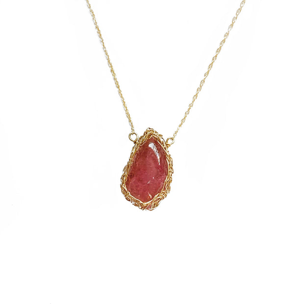 Small Rubellite Tourmaline Necklace in Gold