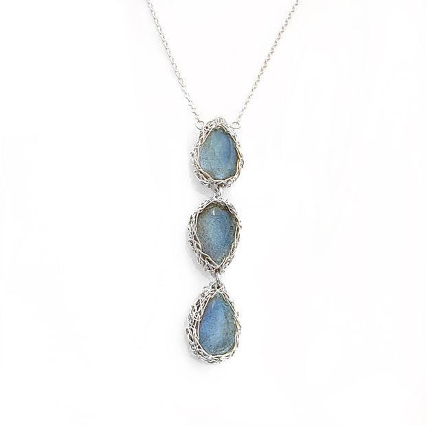 Labradorite three drop necklace in silver
