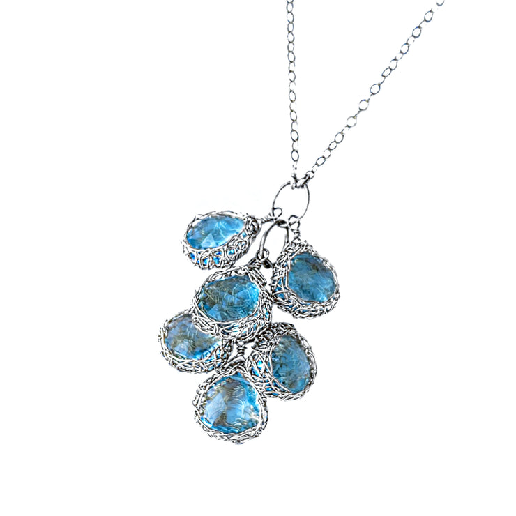 Cascading Blue Topaz Necklace in Silver