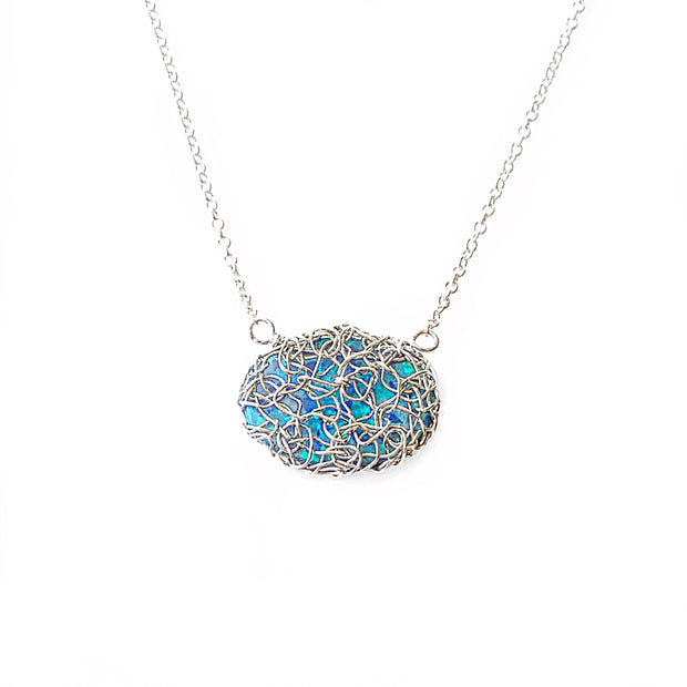 Sea Opal Oval Necklace In Silver