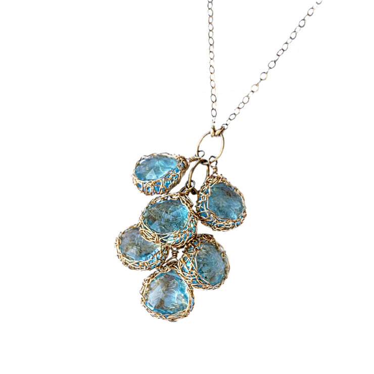 Cascading Blue Topaz Necklace in Gold