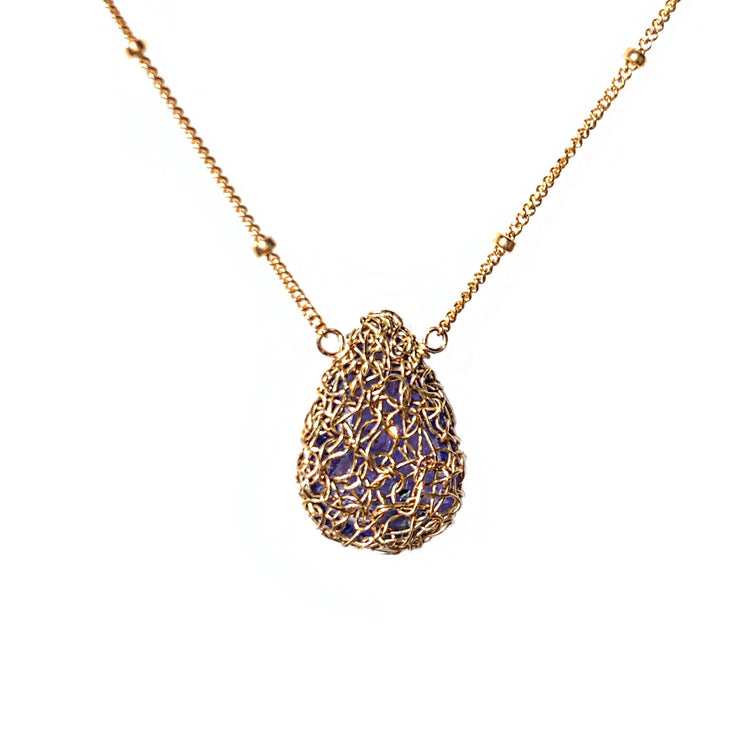 Tanzanite Teardrop Necklace In Gold