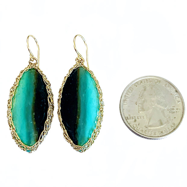 Petrified Opalized Wood Marquis Earrings Gold
