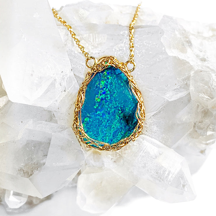 14 Karat Gold Medium Teardrop Boulder Opal Necklace