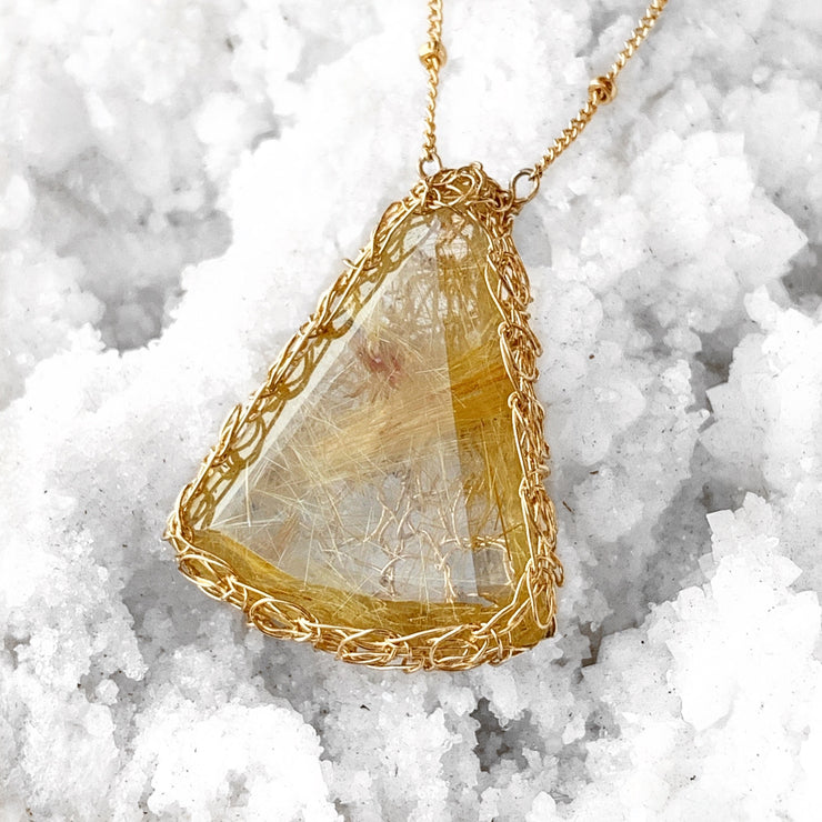 Rutilated Quartz Clarity Necklace in Gold