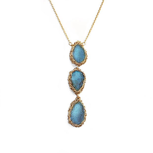 Labradorite three drop necklace in gold