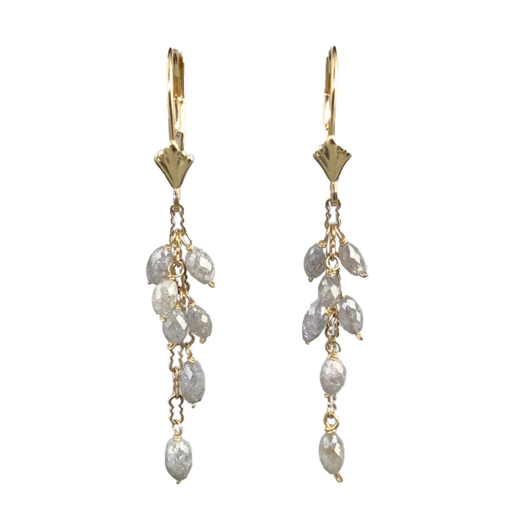 14kt Salt & Pepper Diamond Cascade Earrings