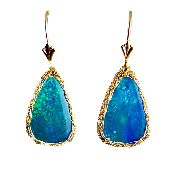 14 Karat Gold Boulder Opal Earrings