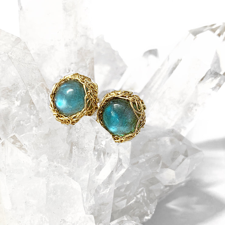 Small Labradorite Post Earrings In Gold