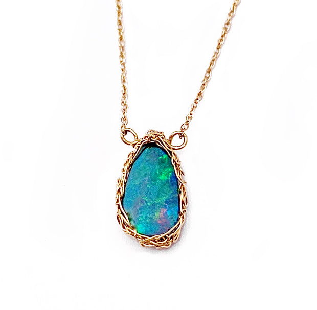 Sydney Boulder Opal Necklace in 14kt Gold