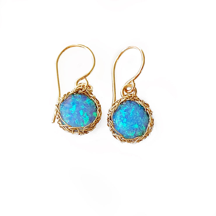 Sea Opal Round Dangle Earrings in Gold