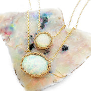 White Opal Round Necklace in Gold