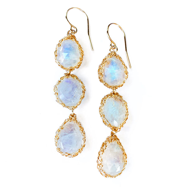 Three Stone Moonstone Teardrop Earrings in Gold