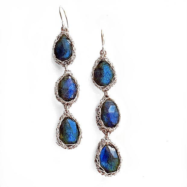 Three Stone Labradorite Teardrop Earrings in Silver