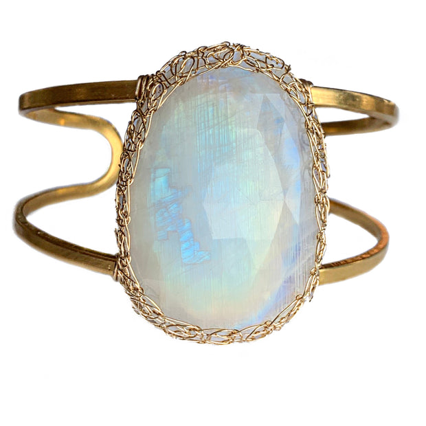 Large Moonstone Oval Cuff Bracelet In Gold