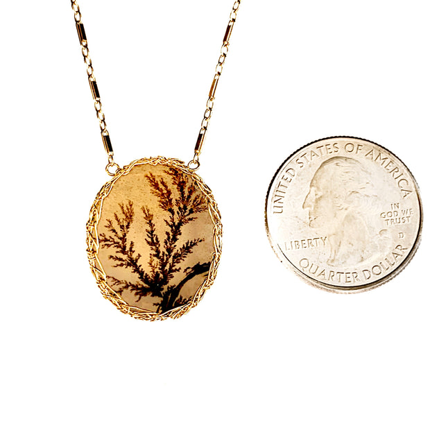Dendritic Agate Fern Necklace In Gold