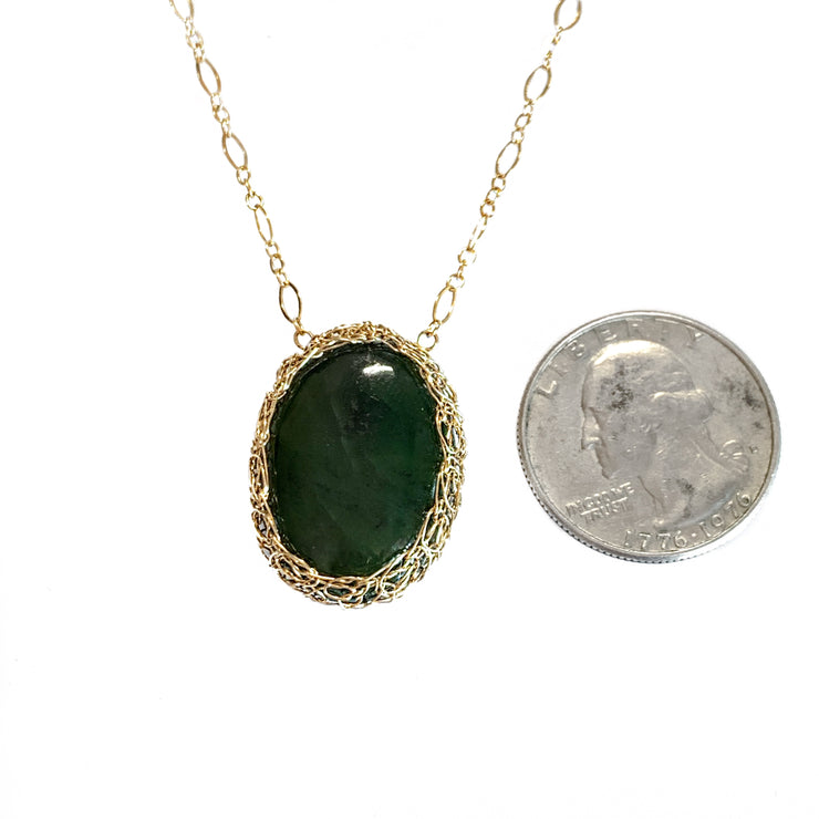 Big Sur Jade Oval Necklace in Gold