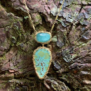 Indicolite Tourmaline and Turquoise Necklace In Gold